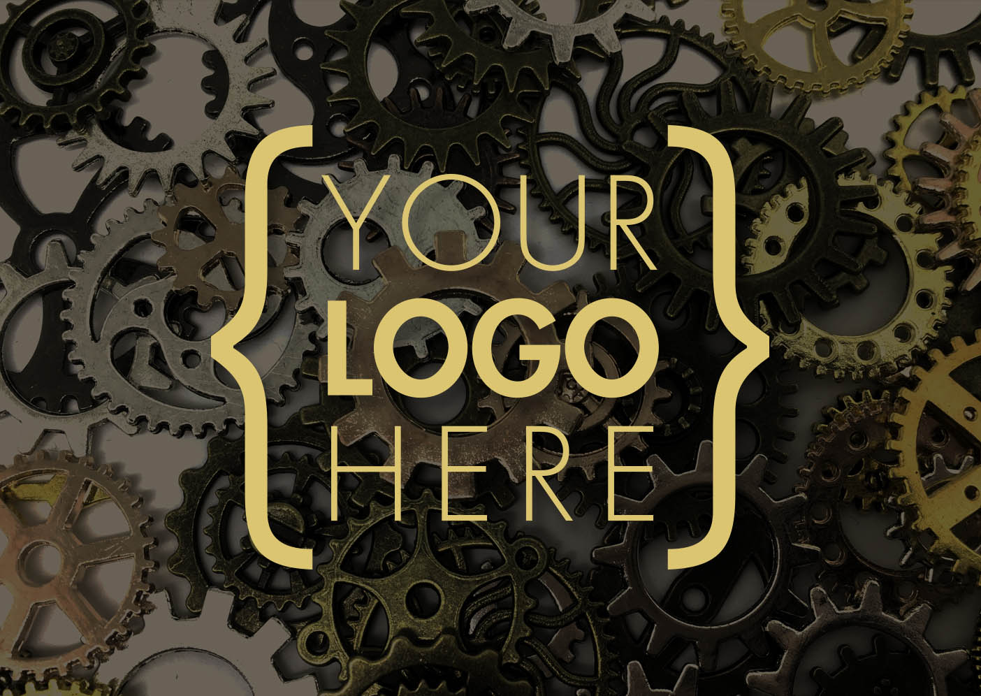 'Your Logo Here' over an image of gears