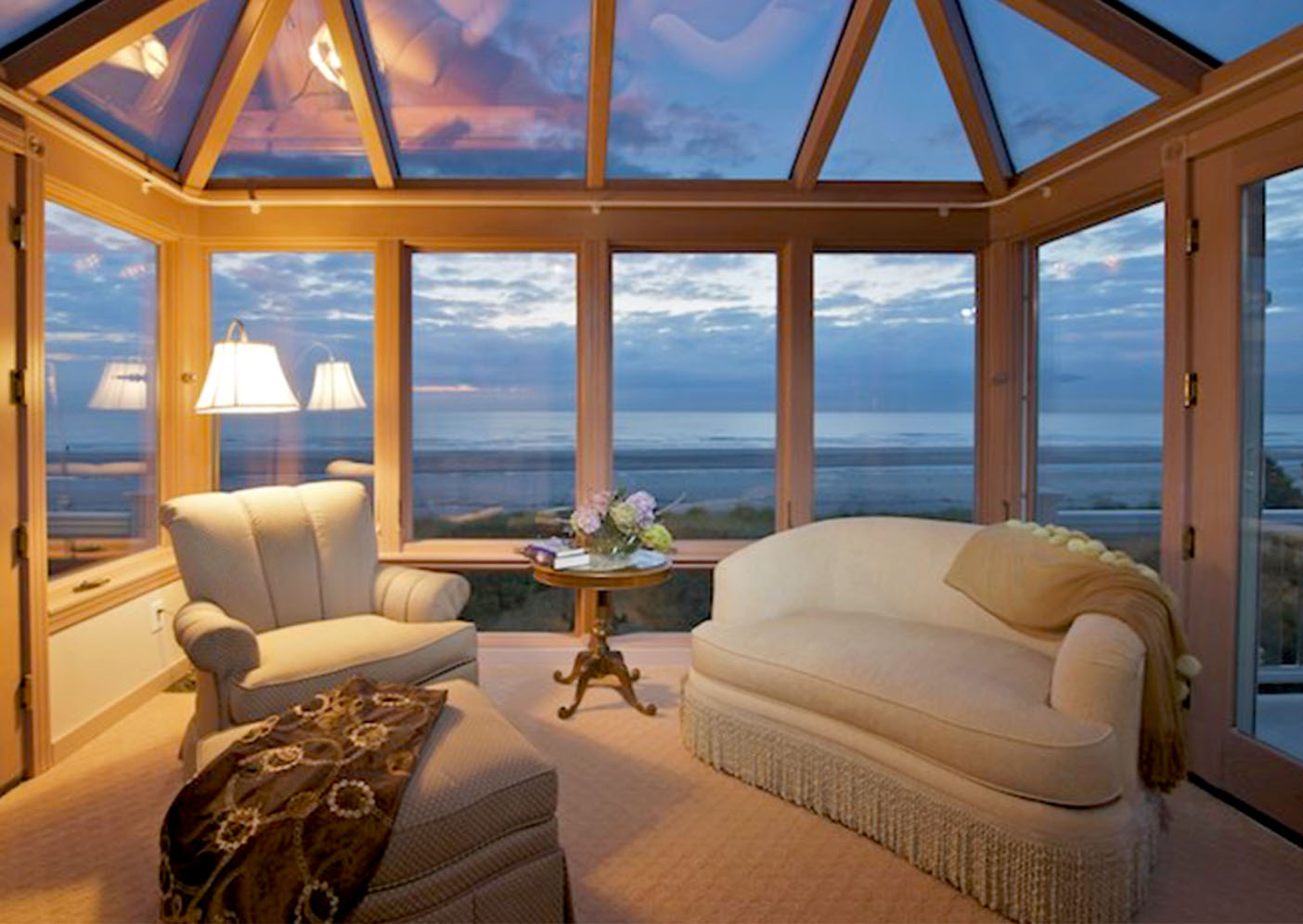 A beautiful sunset seen through a sunroom